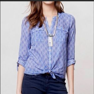 Anthro Holding Horses Button Up Shirt Blue Size 12